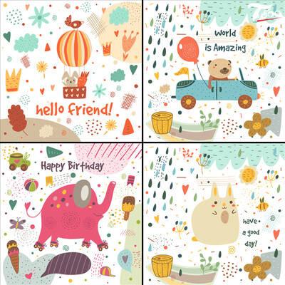 【淘宝数据包】森系卡通可爱Q版手绘儿童话插画动物兔子大象背景底纹ui矢量素材